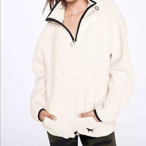 victoria's secret teddy sherpa quarter zip jacket